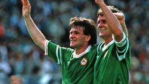 Ray Houghton (L) pictured with Kevin Moran celebrating victory