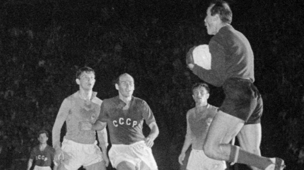 1960 - Yugoslav goalkeeper Blagoje Vidinic catches the ball during the first-ever Euro final against the Soviet Union in Paris - the Soviets won 2-1 after extra-time