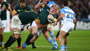 Strauss in action for South Africa against Argentina at last year's Rugby World Cup in England