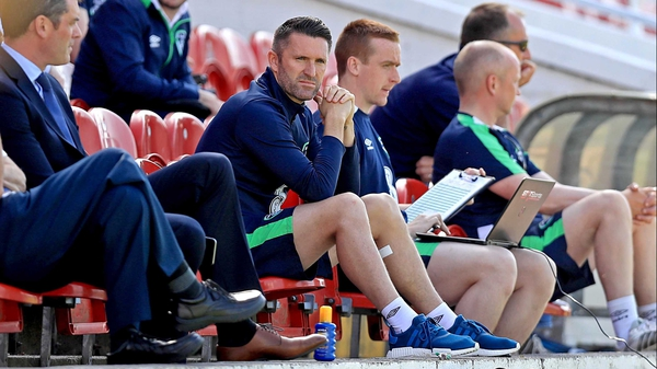 Robbie Keane looks on as the Ireland squad train at Turner's Cross