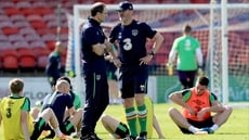 Roy Keane and Martin O'Neill atsquad training in Turner's Cross