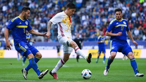 Bellerin in action for Spain on his international debut last Sunday against Bosnia
