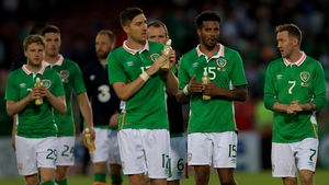 The Republic of Ireland players salute the fans
