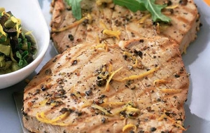 Healthy and tasty tuna steak with fennel in milk