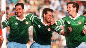 John Aldridge, Kevin Sheedy and Ronnie Whelan in their heyday with the Republic of Ireland