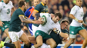 Jared Payne in battle during Ireland's 2014 clash with South Africa at the Aviva Stadium