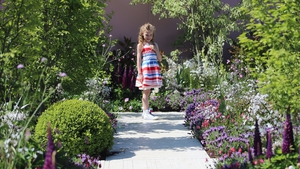 Shiomha Deevy in the Crumlin Childrens Hospital garden at the Bloom Garden Festival