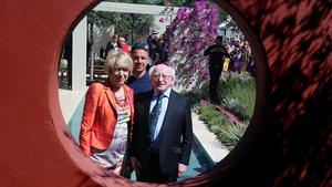 President Michael D Higgins and his wife Sabina take a tour of the Gold Medal winning Santa Rita Living La Vide 120 garden by designer Alan Rudden
