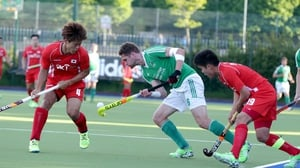 Ireland's Paul Gleghorne with Namyong Lee and Hyosik You of Korea