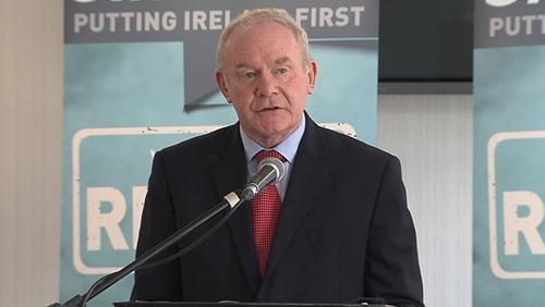 Martin McGuinness was speaking in Belfast