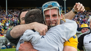 Davy Fitzgerald embraces Brendan Bugler after victory in the League final