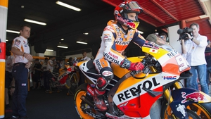 Marc Marquez leaves the box in Montmelo
