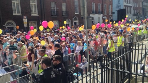 Crowds assembled on Molesworth Street in Dublin city centre for the rally