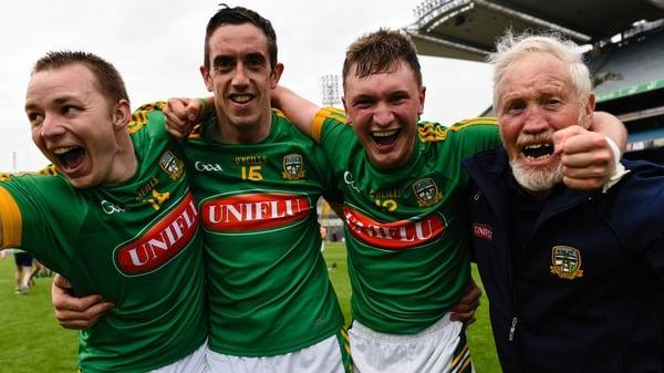 Meath's Neil Heffernan, Steven Clynch and Adam Gannon celebrate at the final whistle