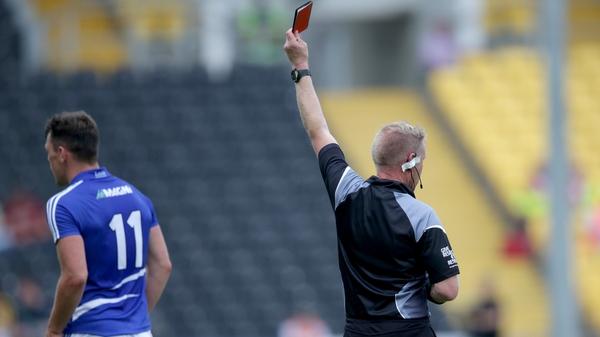 John O'Loughlin of is red carded by referee Ciarán Branagan