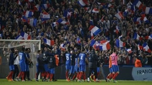 France salute the fans after the game