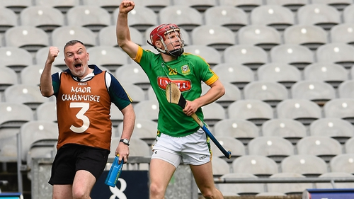 Meath's Sean Quigley celebrates scoring the final score of the game
