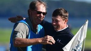 Matt Fitzpatrick (R) celebrates victory with his caddie Lorne Duncan