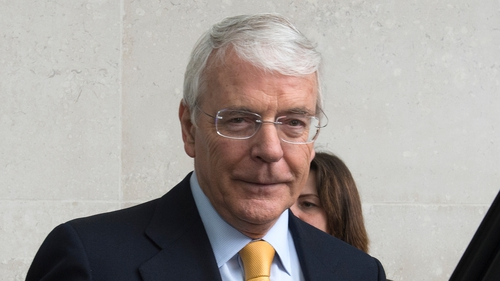 Former Conservative prime minister John Major leaves BBC Broadcasting House in London after appearing on The Andrew Marr Show