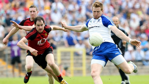 Monaghan goalscorer Kieran Hughes in action against Down
