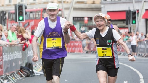 Joe and Kay O'Regan, an 80-year-old couple from Co Wexford, finished the marathon hand-in-hand