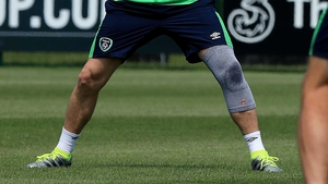 The Ireland captain had a sizeable brace on his right leg as he recovers from a calf injury