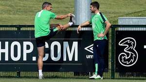 But Jonathan Walters (L) and Robbie Brady sat out training. Walters is dealing with a knee problem