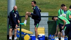 John O'Shea limbers up