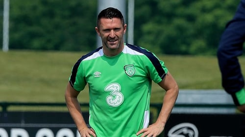 Robbie Keane was back in training with the Ireland squad in Dublin this afternoon