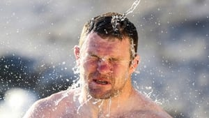 Donnacha Ryan on the beach during the first day of the South African tour