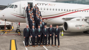 The Republic of Ireland team departing for France yesterday