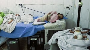 Newborns were evacuated from the children's hospital following airstrikes