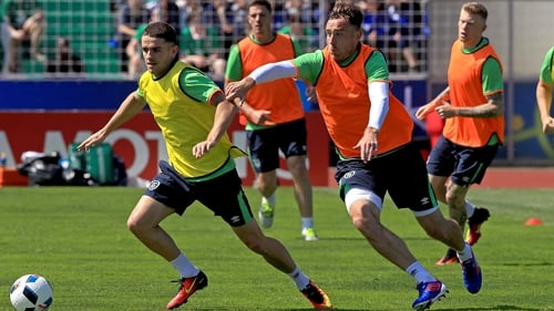 Robbie Brady and Richard Keogh going through their paces in training