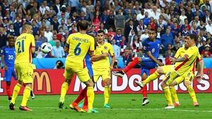 Dimitri Payet scores France's winner against Romania
