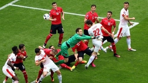 Fabian Schar heads home the winner for Switzerland
