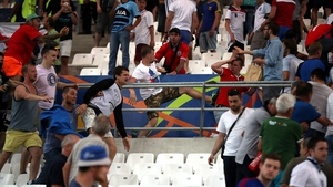 Tempers flare between Russia and England fans in the stands at the Stade Velodrome