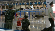 Home-made explosives were thrown near a check-in counter at the airport's Terminal Two