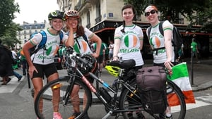 Irish fans have come via planes, trains and automobiles, with this quartet of ladies cycling from Cherbourg in aid of the Alzheimers Society