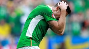 Ciaran Clarke reacts to a missed chance for Ireland
