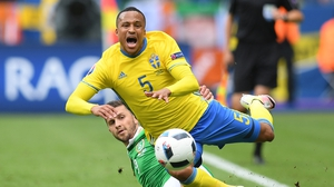 Martin Olsson in action against the Republic of Ireland