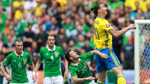Zlatan Ibrahimovic in action against the Republic of Ireland during Euro 2016 in France