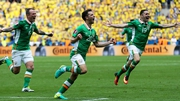Wes Hoolahan celebrating his goal for Ireland against Sweden at Euro 2016
