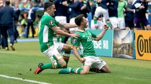 Wes Hoolahan celebrates Ireland's opener with Robbie Brady