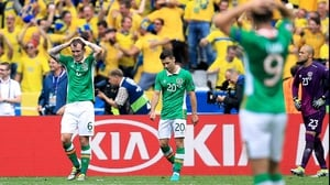 Ireland players react to conceding a goal on their way to a one-all draw with Sweden
