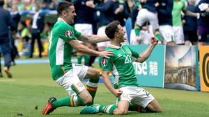 Wes Hoolahan celebrates with Robbie Brady after his brilliant goal