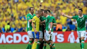 Glenn Whelan booked during the 1-1 draw with Sweden