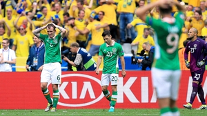 Republic of Ireland players dejected after Sweden's leveller