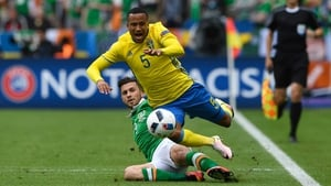 Martin Olsson goes down after a string Shane Long tackle