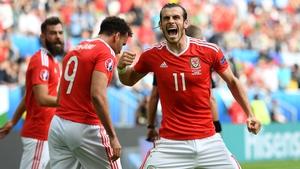 Gareth Bale celebrates his goal against Slovakia