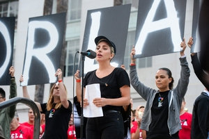 Lady GaGa addressing the crowds at a rally in Los Angeles